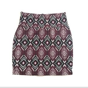 Tribal Print Mini Skirt Fitted Charlotte Russe